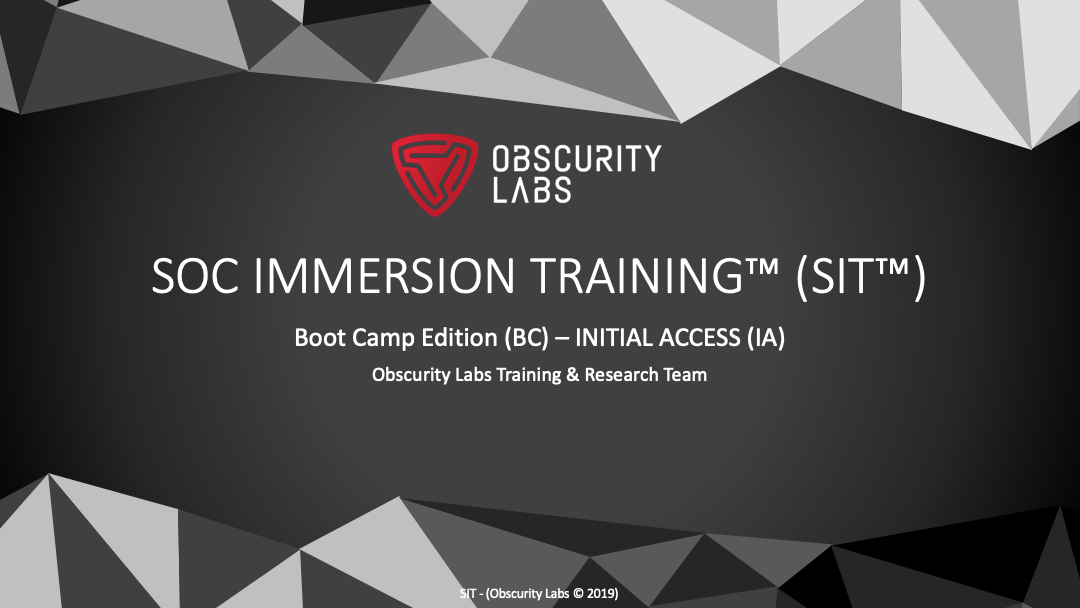 SOC Immersion Training Bootcamp (SIT-BC-1)