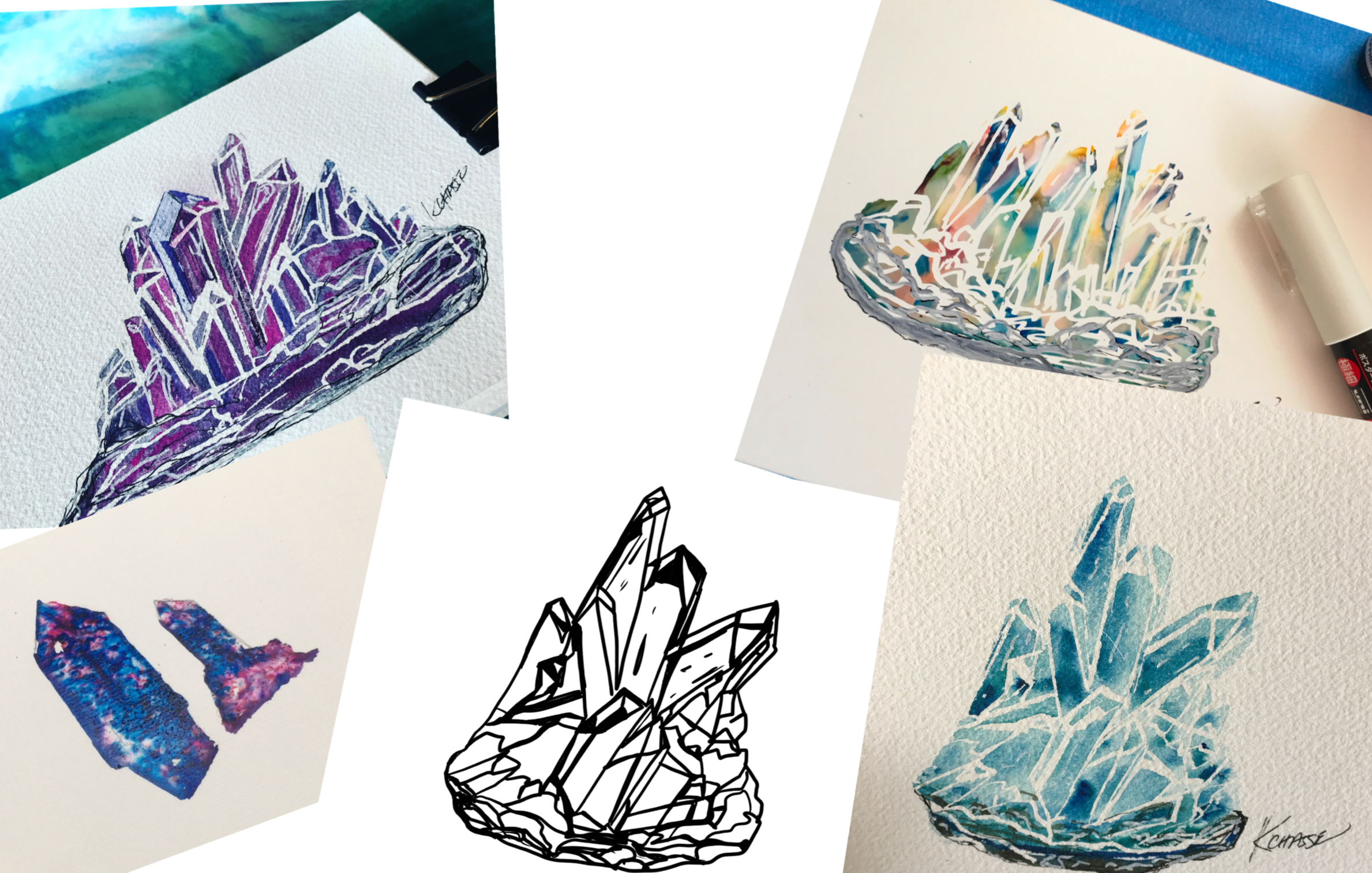 How to paint a Crystals using Alcohol Ink and watercolors for Beginners