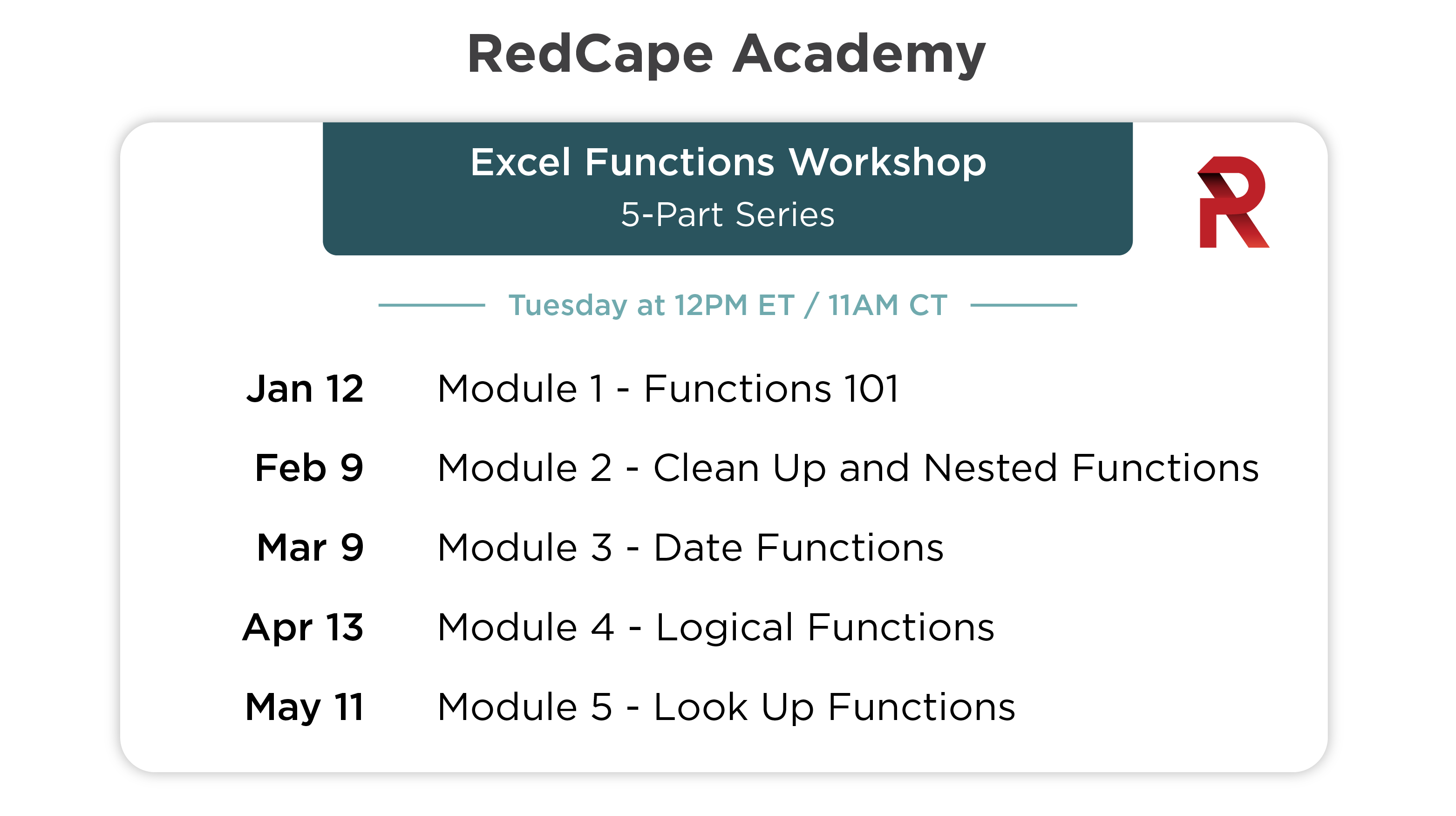 Excel Functions Workshop schedule for 2021 through May.