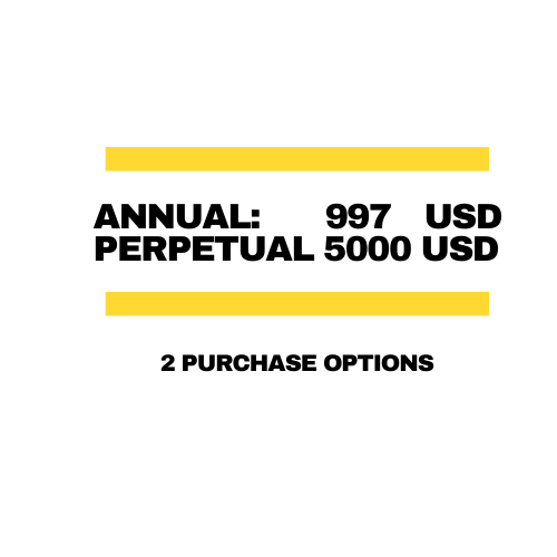 Annual agreement price: 997 USD, Perpetual Agreement price: 5000 USD