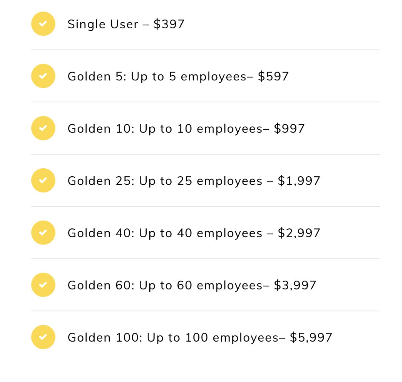 Course price sheet