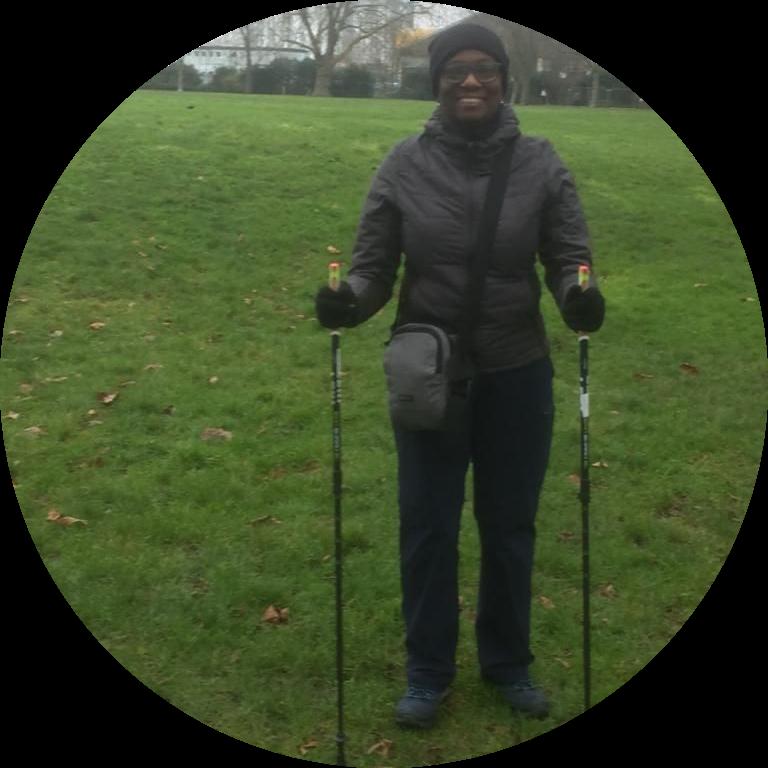 Marie enjoying her Nordic walks